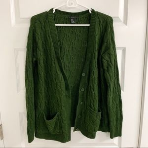 Forever 21 Olive Buttoned Cardigan (M)